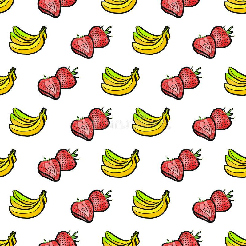 картинка где нарисован банан клубника и предварительно нужно провести