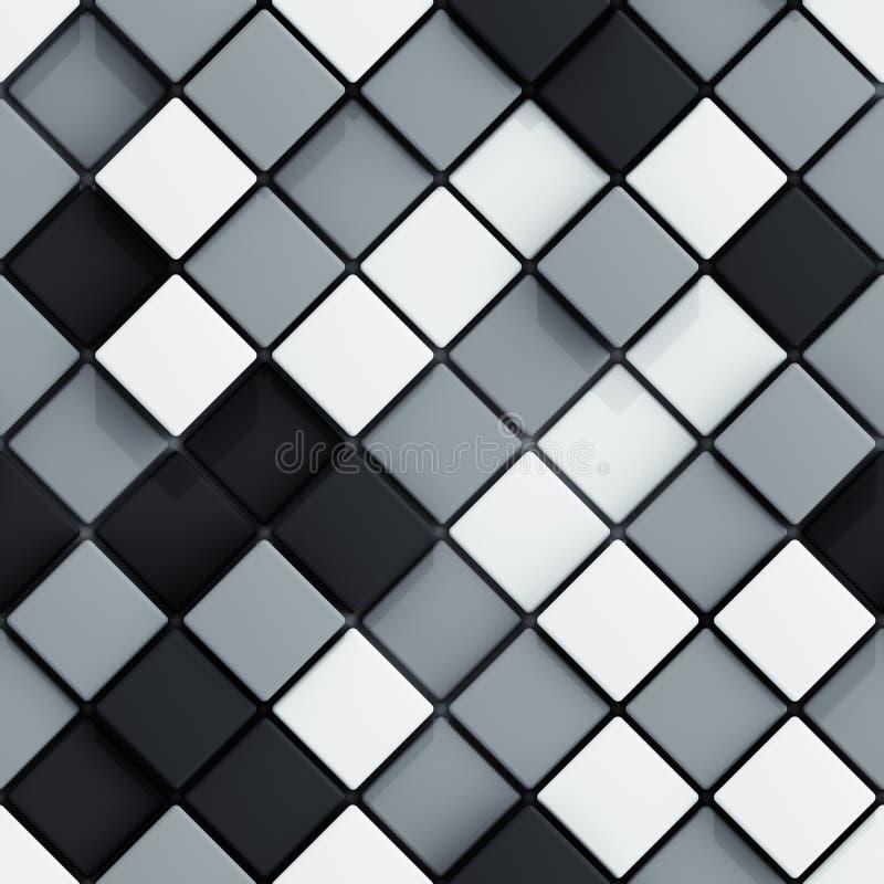Безшовная картина белых и черных rhombs 3D представить бесплатная иллюстрация