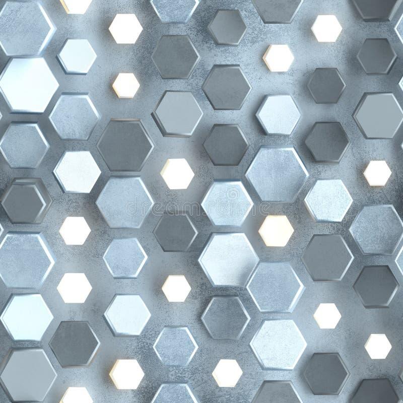 Безшовная картина бетонной стены с накаляя шестиугольниками бесплатная иллюстрация