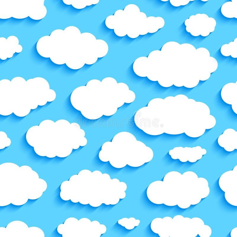 Безшовная картина белых облаков на голубом небе иллюстрация штока