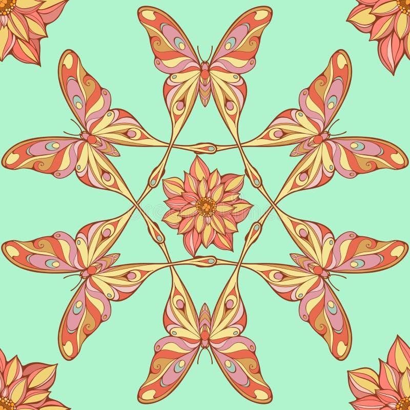 Безшовная картина больших красочных бабочек иллюстрация вектора