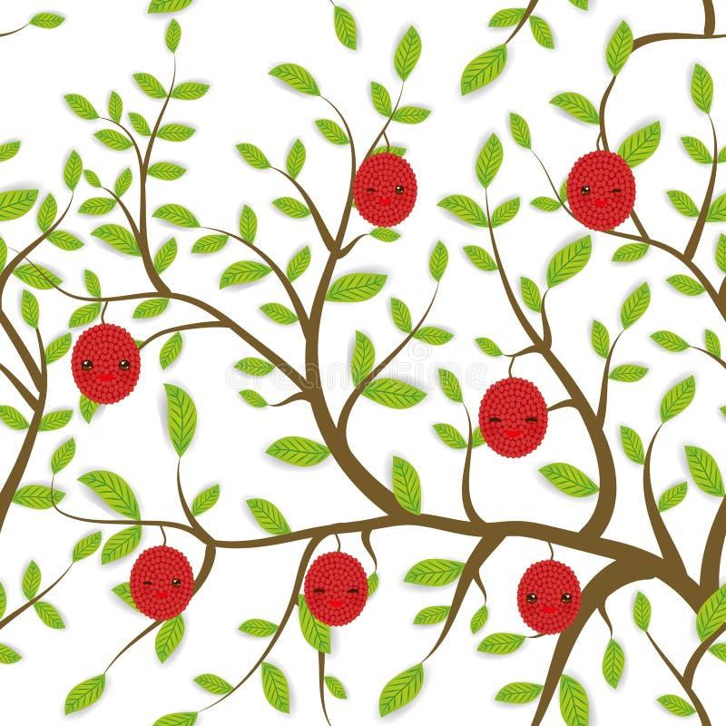 Безшовная картина Брайн разветвляет с зелеными листьями, lichee приносить намордник Kawaii смешной с розовыми щеками и подмигиват иллюстрация вектора