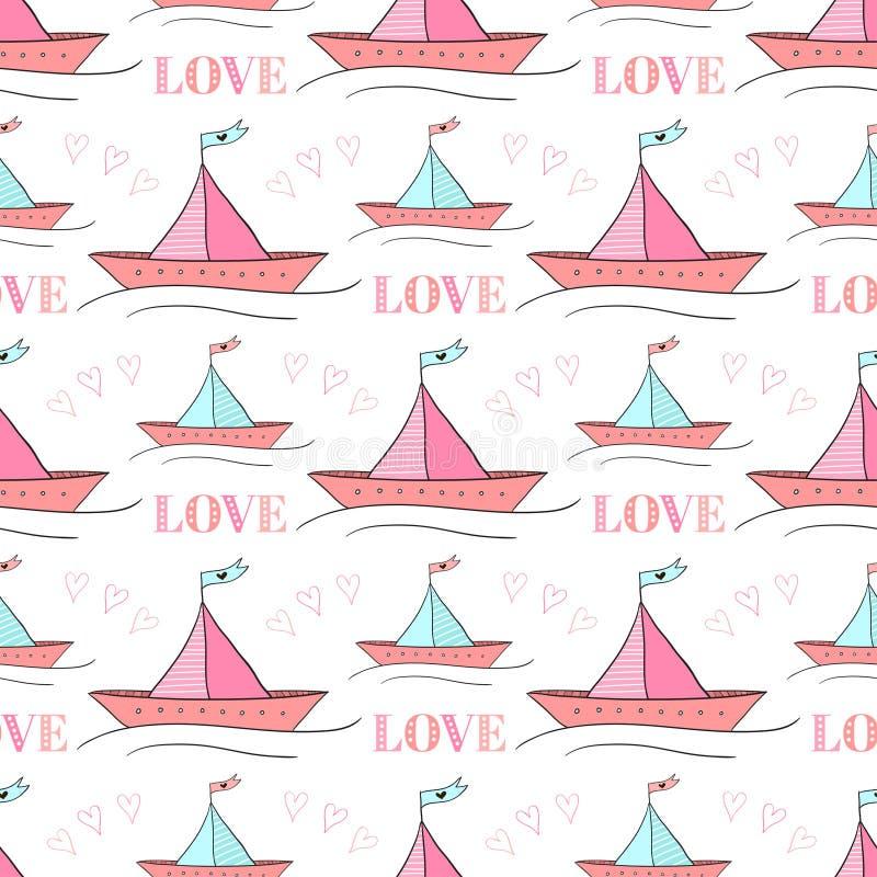 Безшовная картина бумажных шлюпок Иллюстрация вектора для дизайна ткани детей Повторять текстуру милого корабля бесплатная иллюстрация