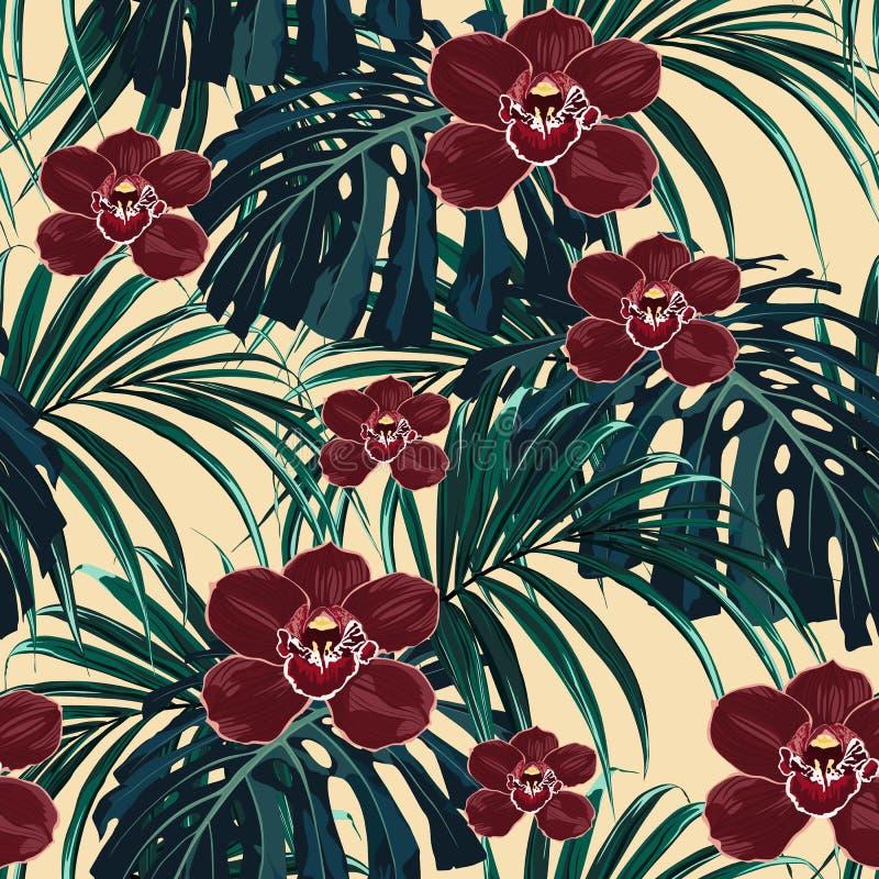 Безшовная картина, бургундский цветок орхидеи и зеленый экзотический изверг ладони выходят иллюстрация штока