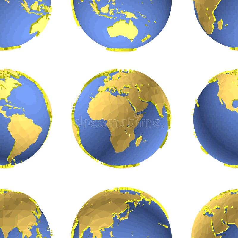 Безшовная картина вектора глобусов земли иллюстрация штока
