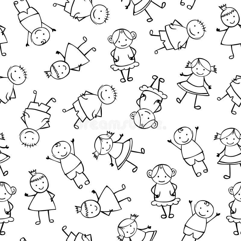 Безшовная картина вектора - линейные люди в стиле ` s детей иллюстрация штока