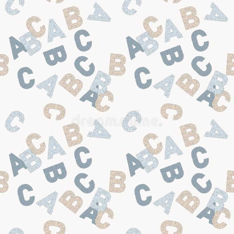 Безшовная картина вектора писем ABC английских в голубом и бежевом на белой предпосылке иллюстрация вектора