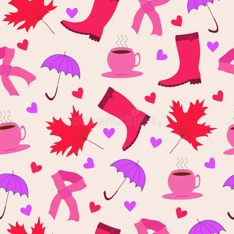 Безшовная картина вектора символов значка осени Покрашенные листья и жолуди дуба Зонтик и клен одежды цвета розовые иллюстрация вектора