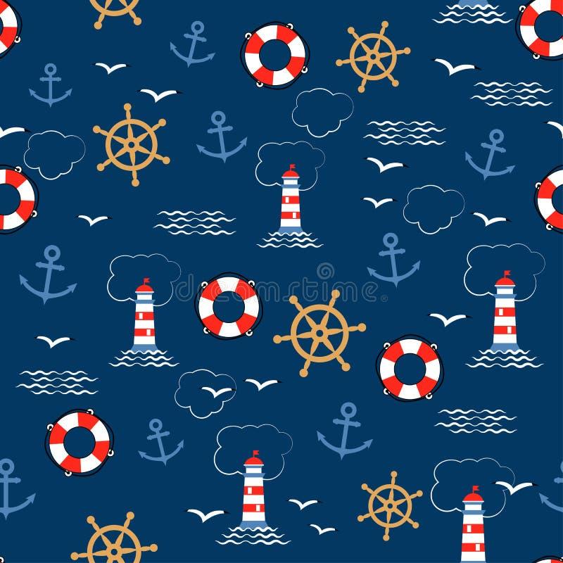 Безшовная картина вектора с анкерами моря, кормилами, lifebuoys, чайками и маяками Текстура для упаковочной бумаги, подарков иллюстрация вектора