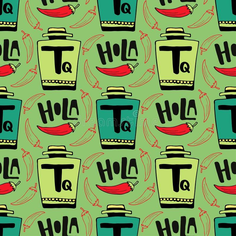 Безшовная картина вектора с бутылкой текила и перцем на зеленой предпосылке Holla - здравствуйте! в испанском языке иллюстрация штока