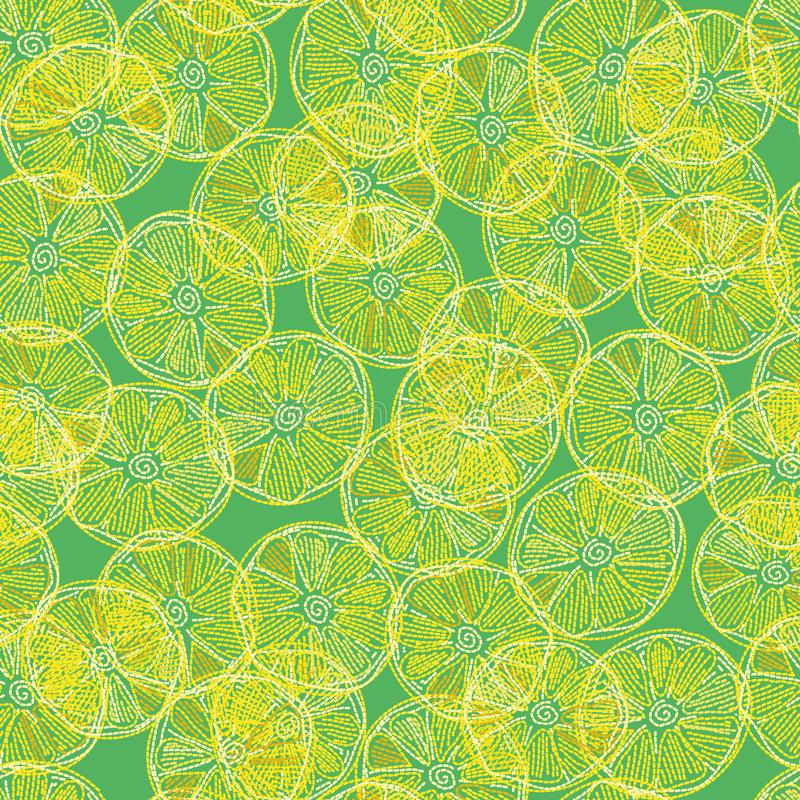 Безшовная картина вектора с вышитыми перекрывая кусками лимона бесплатная иллюстрация
