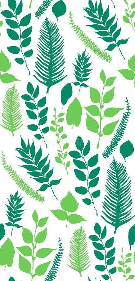 Безшовная картина вектора с зелеными листьями бесплатная иллюстрация