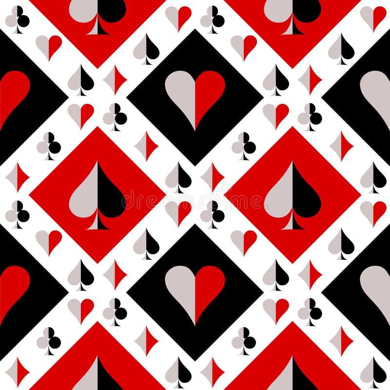 Безшовная картина вектора с значками играя карточек Предпосылка черноты, красных и белых повторяя иллюстрация штока