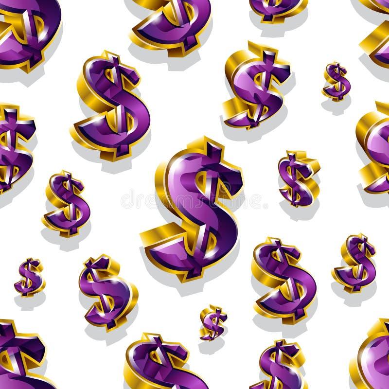 Безшовная картина вектора с золотыми знаками доллара иллюстрация штока