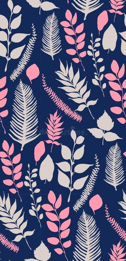 Безшовная картина вектора с листьями иллюстрация штока