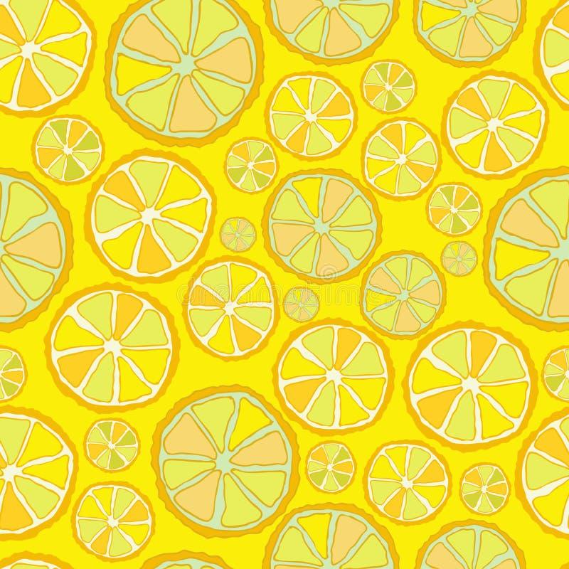 Безшовная картина вектора с кусками лимона Покрашенные куски на нейтральной предпосылке Красочный чертеж руки в эскизе иллюстрация штока