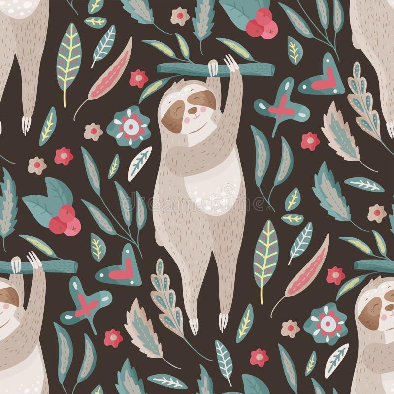 Безшовная картина вектора с милой ленью шаржа бесплатная иллюстрация