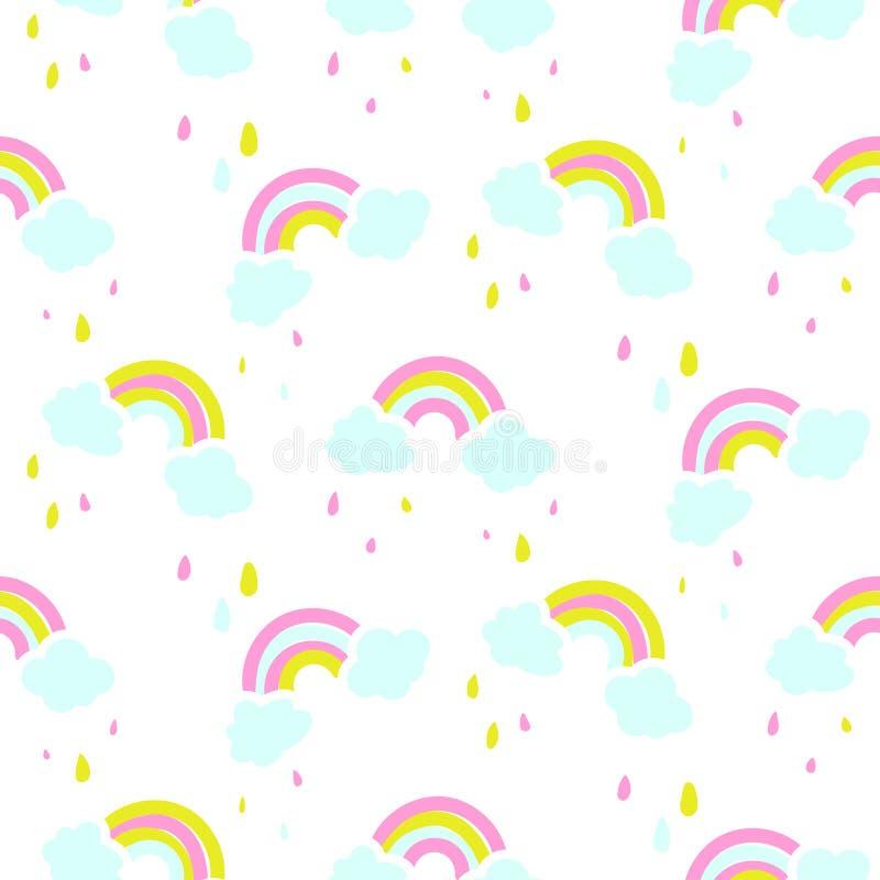 Безшовная картина вектора с милой радугой и облаками иллюстрация вектора