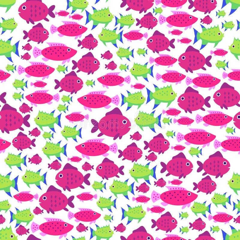 Безшовная картина вектора с милыми рыбами шаржа в красном цвете и зеленом цвете иллюстрация штока