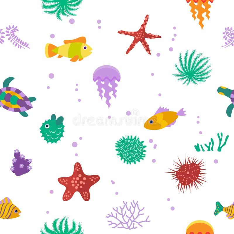 Безшовная картина вектора с милыми рыбами шаржа бесплатная иллюстрация