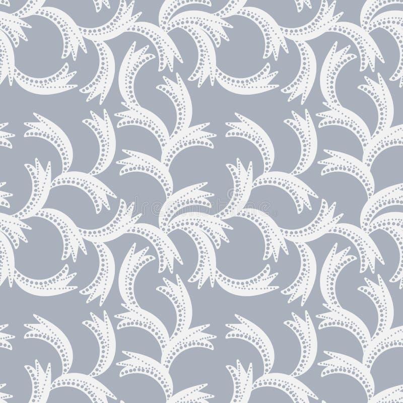 Безшовная картина вектора с органическими белыми формами листьев на серой предпосылке иллюстрация штока
