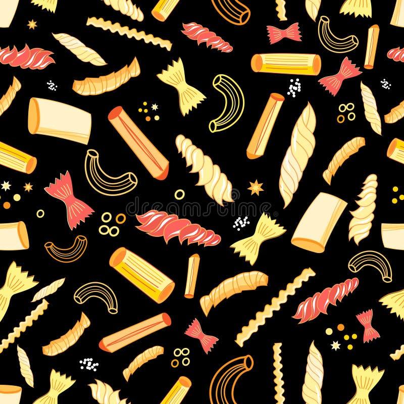 Безшовная картина вектора с различными вкусными макаронными изделиями иллюстрация штока