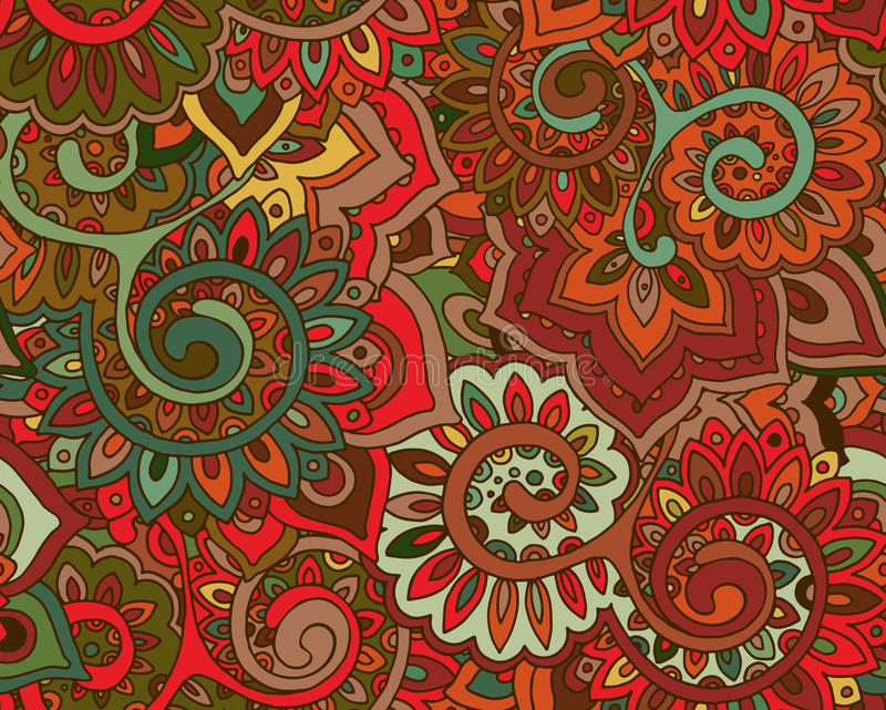 Безшовная картина вектора с традиционными восточными флористическими ornamen бесплатная иллюстрация