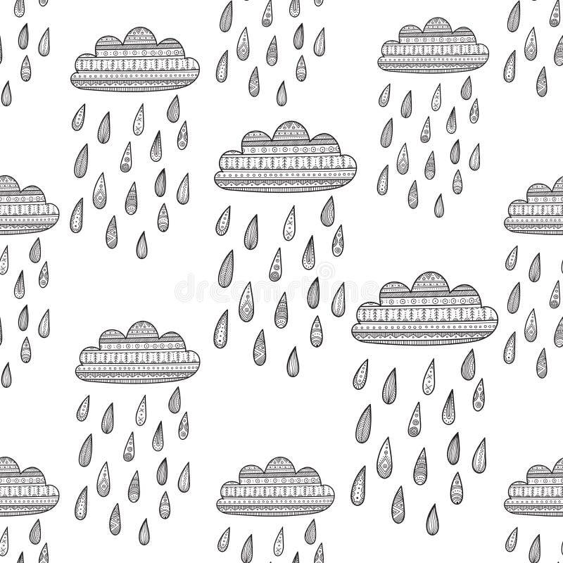 Безшовная картина вектора с украшенным дождливым облаком иллюстрация вектора