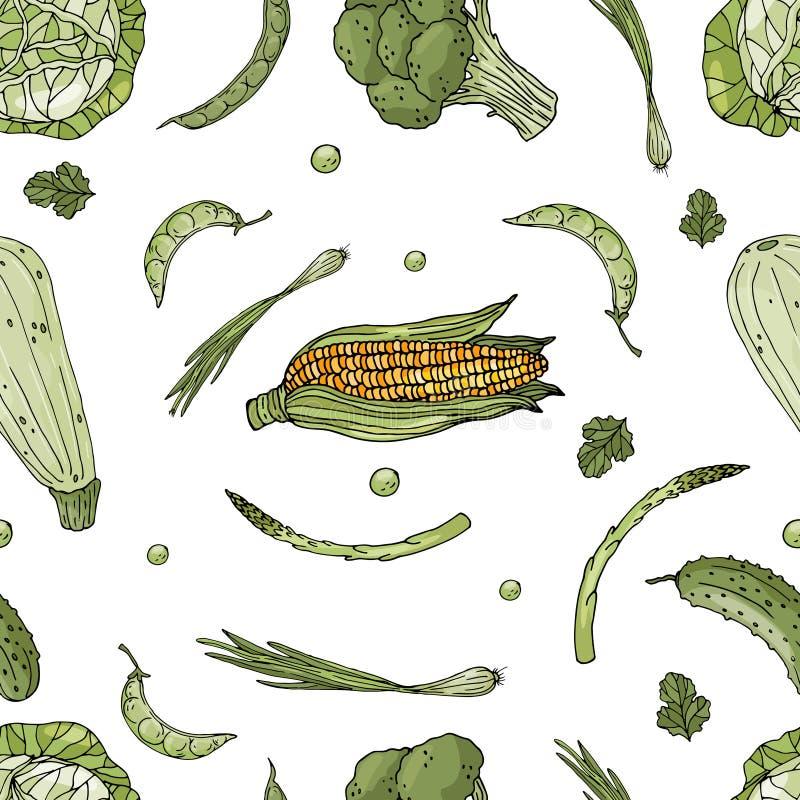 Безшовная картина вектора элементов с овощами руки вычерченными зелеными на белой предпосылке бесплатная иллюстрация