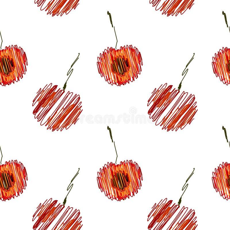 Безшовная картина вектора, яркая предпосылка плодоовощей с вишней, весь и половинный на белом фоне иллюстрация вектора