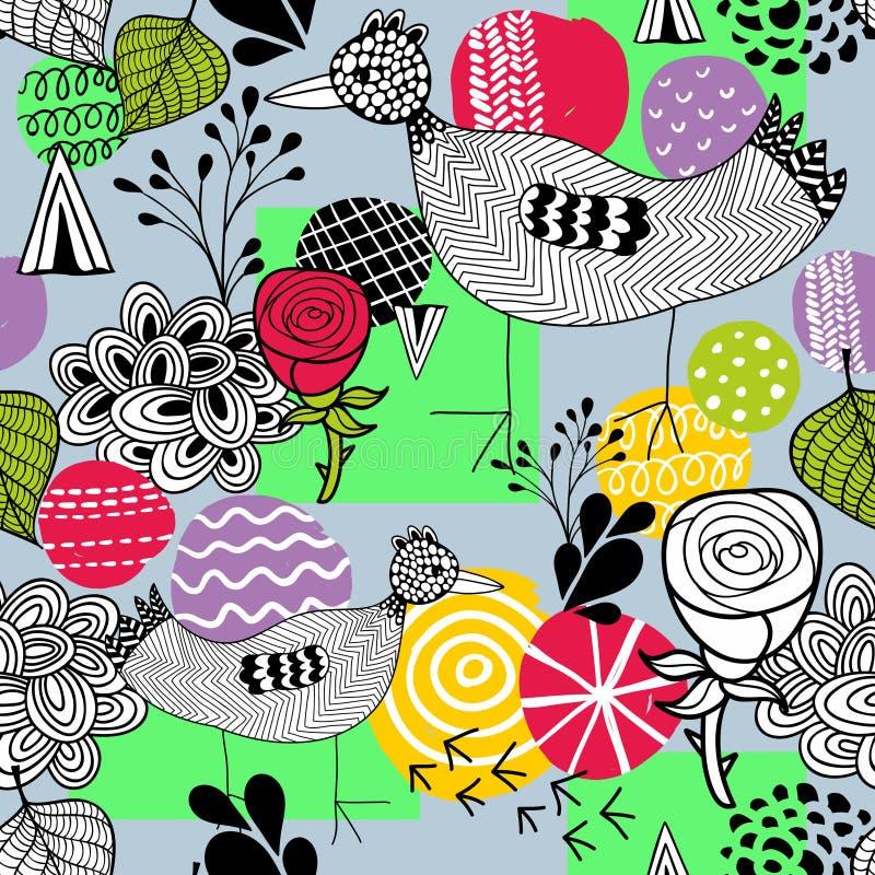 Безшовная картина весны с птицами фермы doodle иллюстрация штока