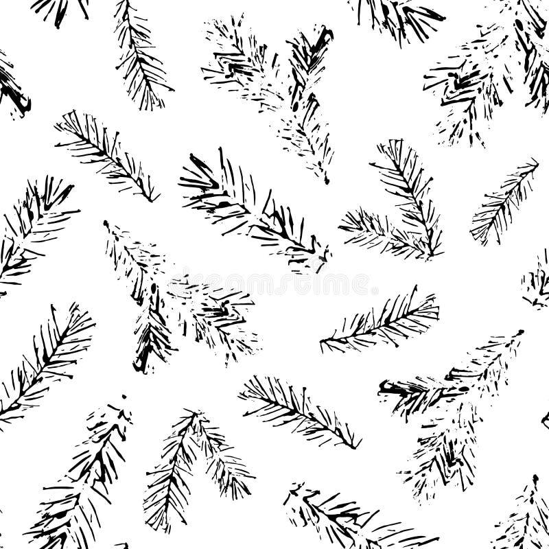 Безшовная картина ветвей ели печати иллюстрация вектора