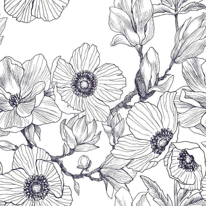 Безшовная картина ветви магнолии и цветения ветрениц изолированной на белизне Винтажной ботанической иллюстрация нарисованная рук иллюстрация вектора
