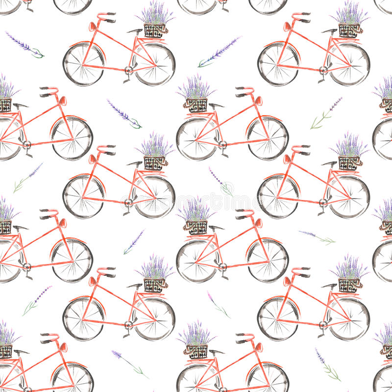 Безшовная картина велосипеда акварели красного с корзиной лаванды цветет иллюстрация вектора