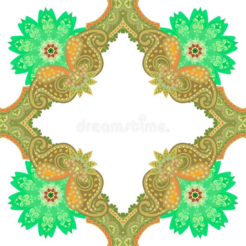 Безшовная картина в восточном стиле с орнаментом Пейсли и цветками мандал на белой предпосылке Керамическая плитка, печать для тк иллюстрация вектора