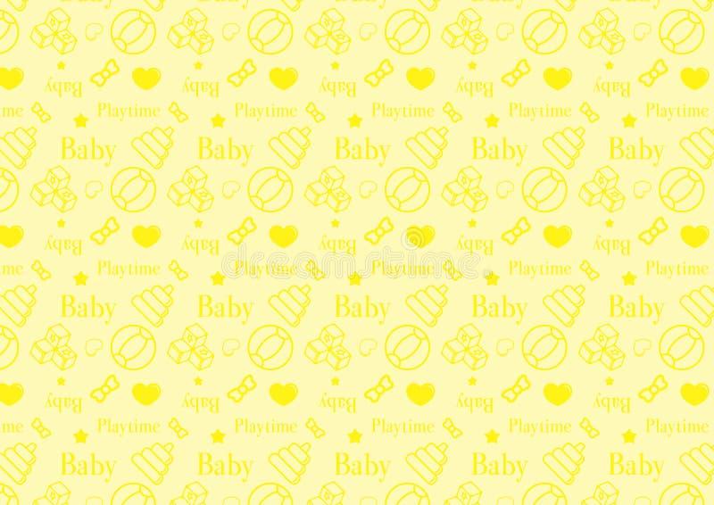 Безшовная картина в линии значке стиля с младенцем забавляется вектор темы польностью editable изменяемого размера в мягком желто иллюстрация штока