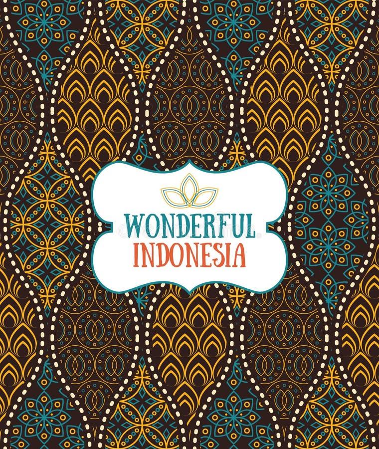 Безшовная картина в стиле индонезийского винтажного батика роскошном иллюстрация штока