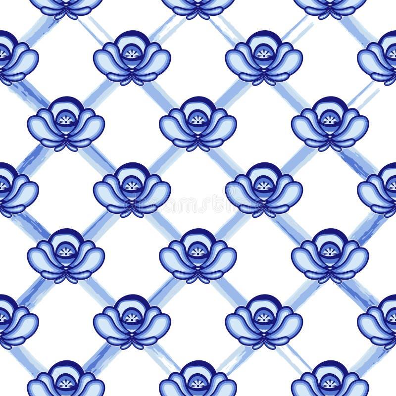 Безшовная картина в стиле Gzhel Решетка от голубой акварели выравнивается с цветками stylization иллюстрация штока