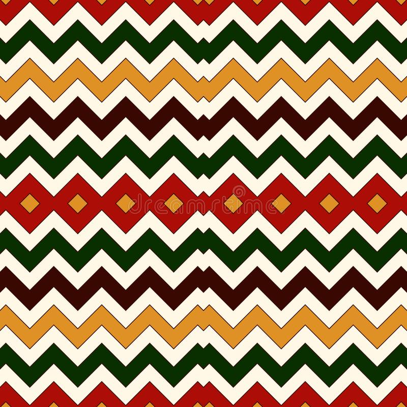 Безшовная картина в цветах рождества традиционных Предпосылка горизонтальных прямых цветов зигзага Шеврона яркая иллюстрация штока