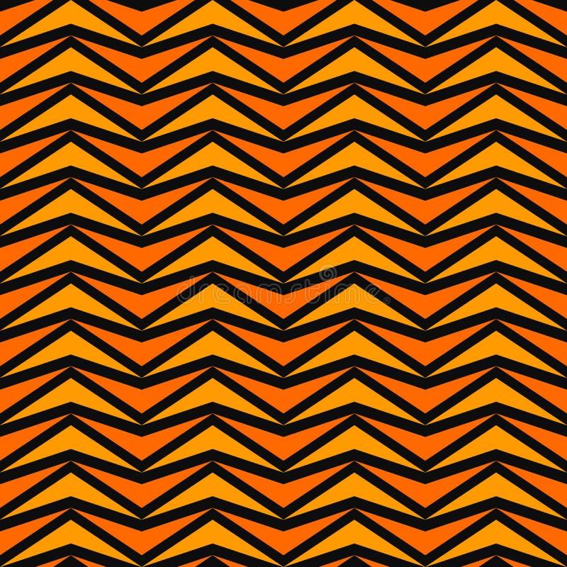 Безшовная картина в цветах хеллоуина традиционных Оранжевый стилизованный конспект мозаики треугольников на черной предпосылке ве иллюстрация штока