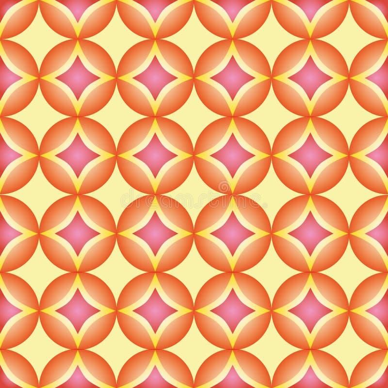 Безшовная картина, геометрическая картина, конспект, округляет картину Современная стильная текстура, картина с оранжевым и розов иллюстрация вектора