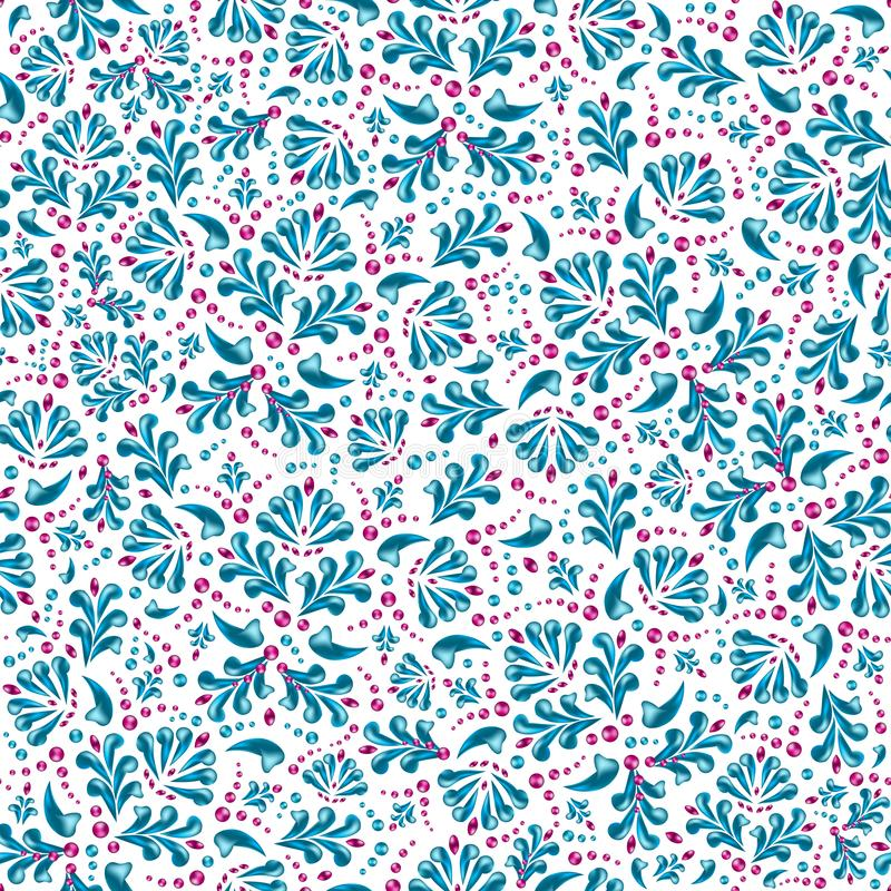 Безшовная картина голубого стилизованного флористического орнамента на белизне иллюстрация вектора