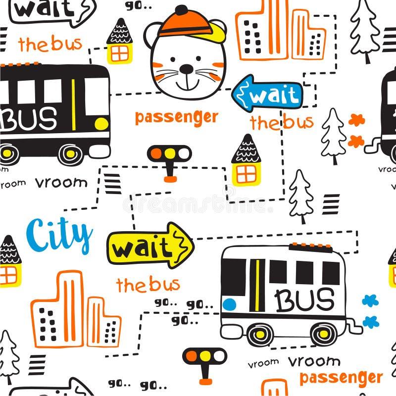 Безшовная картина, город шины и шарж пассажира смешной животный, иллюстрация вектора иллюстрация штока