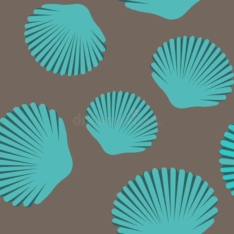 Безшовная картина голубых seashells стоковые изображения