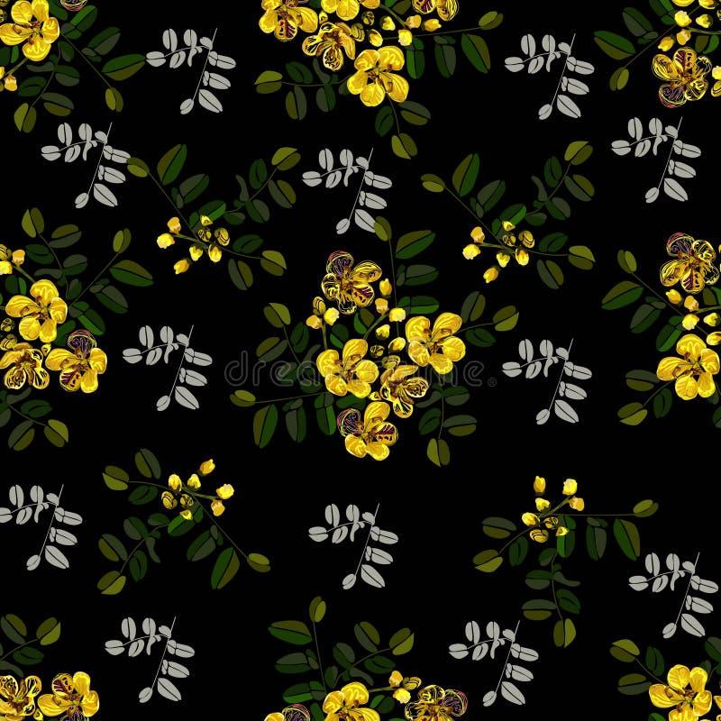 Безшовная картина, графический дизайн, цветок кассии в абстрактном стиле на черной предпосылке иллюстрация вектора