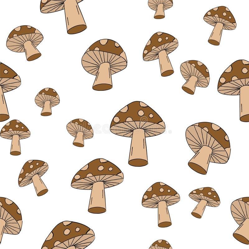Безшовная картина гриба! Вектор eps10 стоковая фотография