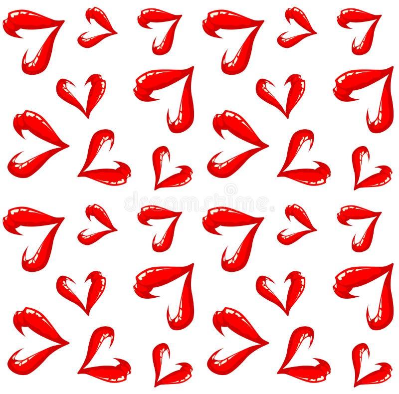 Безшовная картина губ на белой предпосылке иллюстрация вектора