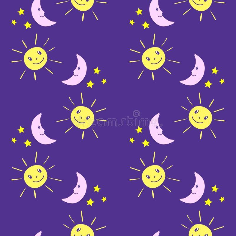 Безшовная картина детей с смешной луной шаржа, солнцем, звездами иллюстрация вектора