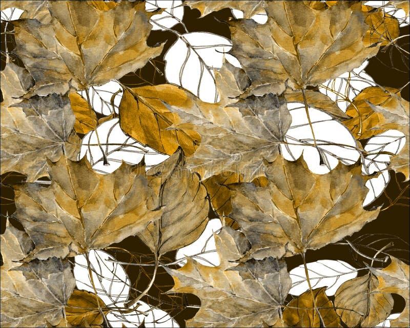 Безшовная картина для конструкции Акварель выходит вишня с кленом листьев на черную предпосылку иллюстрация вектора