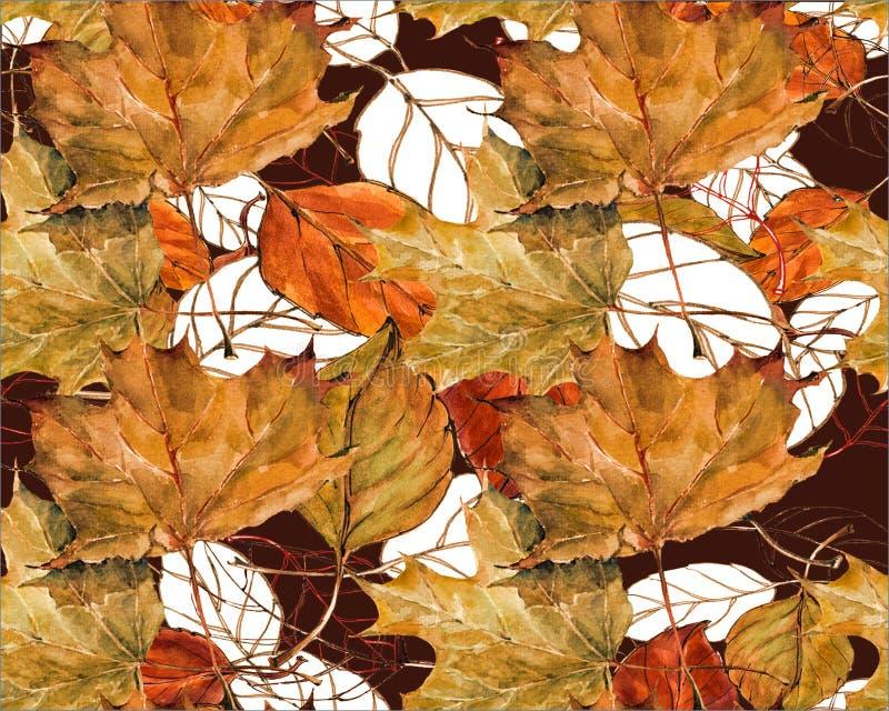 Безшовная картина для конструкции Акварель выходит вишня с кленом листьев на коричневую предпосылку бесплатная иллюстрация